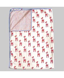 Ekchidiya Giraffe Design Handprinted Blanket - White & Orange