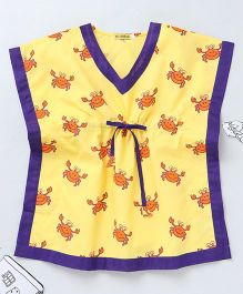 Ekchidiya Crab Design Handprinted Kaftan - Yellow & Purple