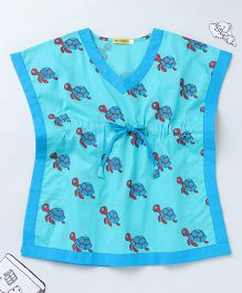 Ekchidiya Turtle Design Handprinted Kaftan - Light Blue