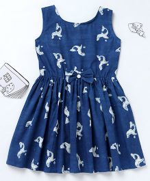 Ekchidiya Dolphin Design Handprinted Frock With A Bow - Indigo Blue