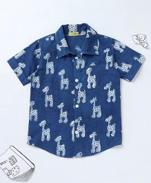 Ekchidiya Giraffe Design Handprinted Shirt - Indigo Blue