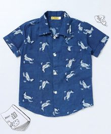 Ekchidiya Airplane Design Handprinted Shirt - Indigo Blue