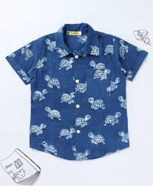 Ekchidiya Turtle Design Handprinted Shirt - Indigo Blue