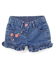 Bees And Butterflies Stylish Shorts With Embroidery - Blue