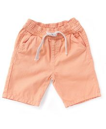 Bees And Butterflies Shorts With Elasticated Belt And String - Peach