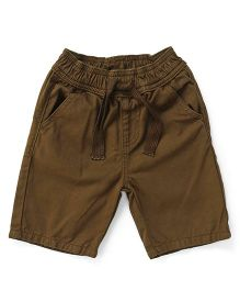 Bees And Butterflies Shorts With Elasticated Belt And String - Brown