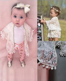 Pre Order - Awabox Lace Shrug With Pom Poms - White