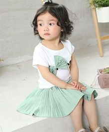 Pre Order - Awabox Bow Applique Top & Skirt - Green