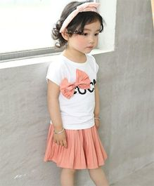 Pre Order - Awabox Bow Applique Top & Skirt - Peach