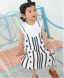Pre Order - Awabox Stylish Dress With Inner - White & Black