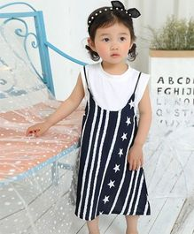 Pre Order - Awabox Stylish Dress With Inner - White & Navy Blue