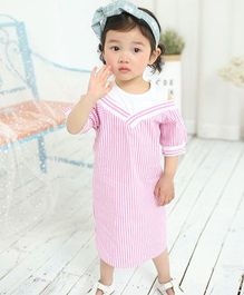 Pre Order - Awabox Striped Cool Dress - Pink