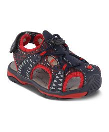Kittens Closed Toe Sandals Velcro Closure - Red & Black
