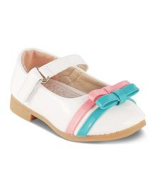 Kittens Mary Jane Belly Shoes With Dual Bow Motif - White