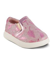 Kittens Party Wear Shoes Leaf Design - Pink