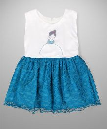 Tiny Toddler Tulle Embroidered Dress - Blue White