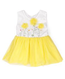 Tiny Toddler Flower Applique Tulle Dress - Yellow