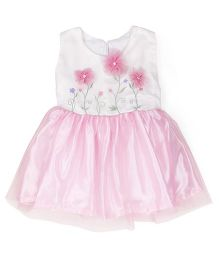 Tiny Toddler Flower Applique Tulle Dress - Pink