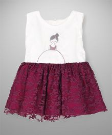 Tiny Toddler Tulle Embroidered Dress - Purple White