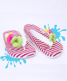 Kidlingss Flower Applique Stripes Flip-Flops - Maroon
