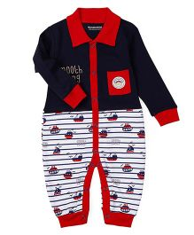 Wonderchild Full Sleeves Romper Boats Print - Blue White