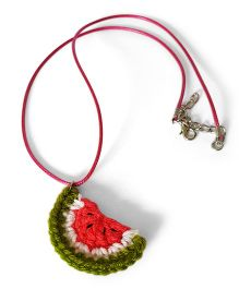 Soulfulsaai Crochet Charm Necklace Water Melon Design - Green & Pink