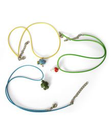 Soulfulsaai Charm Necklace Mushroom Tortoise Fish Design Pack Of 3 - Green Yellow Blue