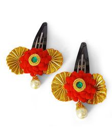 Soulfulsaai Pompom Lace Hairclips Pack Of 2 - Orange