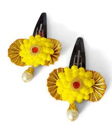 Soulfulsaai Pompom Lace Hairclips Pack Of 2 - Yellow