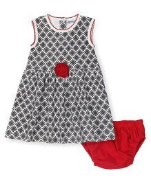 Wonderchild Sleeveless Printed Cotton Dress With Bloomer - Black & Red