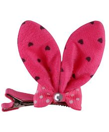Baby Angel Rabbit Ears Bow Clip - Dark Pink