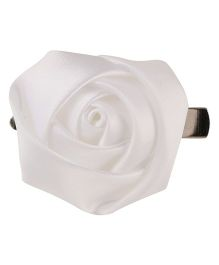 Baby Angel Satin Rose Hair Clip - White