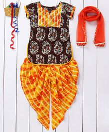 Pspeaches Paisley Design Kurta & Patiala Set With Dupatta - Brown