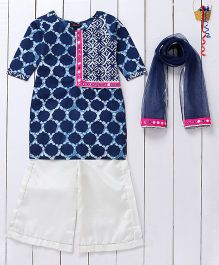 Pspeaches Mirror Design Kurta & Palazzo Set With Dupatta - Blue