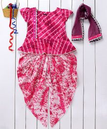 Pspeaches Mirror Design Peplum Style Kurta & Patiala Set With Dupatta - Pink