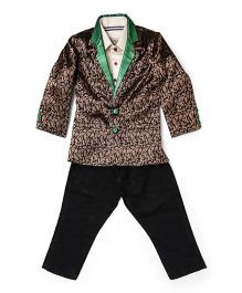 Asi Tattva Brocade Blazer Suit Set - Black & Green