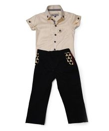 Asi Tattva Cotton Shirt & Pant With Printed Pockets - Beige & Black