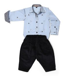 Asi Tattva Romper Shirt And Corduroy Pant Set - Blue & Black