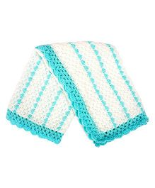 Grandma's Woolen Knitted Blanket - White Blue