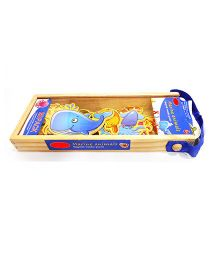 Emob Magnetic Wooden Marine Animals With Wooden Carry Case Multi Color - 20 Pieces