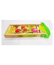 Emob Magnetic Wooden Food Items With Wooden Carry Case Multi Color - 19 Pieces