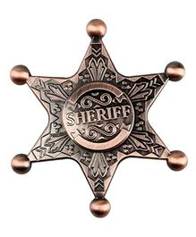 Emob Retro Sheriff Badge Fidget Hand Spinner Toy - Brown