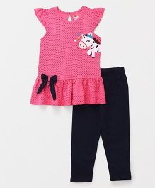 Babyhug Cap Sleeves Top & Leggings Set Dot Print - Pink Navy Blue