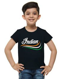 M'Andy Tricolor Indian Print Tee - Black