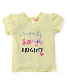 Babyhug Puff Sleeves Top Graphics Print - Light Yellow