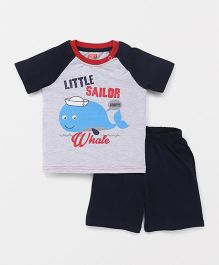 Babyhug Half Sleeves T-Shirt & Shorts Little Sailor Whale Print - Grey