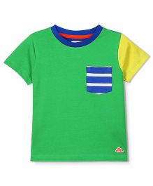 Cherry Crumble California Cut N Sew Tee With Striped Front Pocket - Green