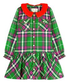 Cherry Crumble California Soft Flannel Lurex With Velour Peter Pan Collar Dress - Green
