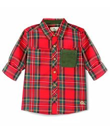 Cherry Crumble California Scottish Check Suede Trim Shirt - Red