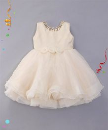 M'PRINCESS Party Wear Dress With Flower Applique - Cream